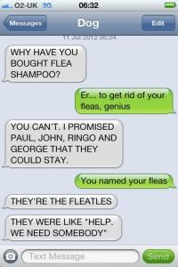 fleatles dog text