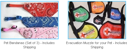 pet bandanas and evacuation muzzle for pets
