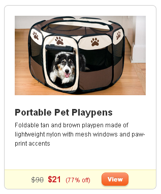 groupon pet deals, portable pet playpen