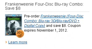 Frankenweenie coupon blu ray dvd