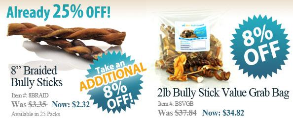 best bully sticks sitewide sale extra 8 off thru 10 12 woof woof mama. Black Bedroom Furniture Sets. Home Design Ideas