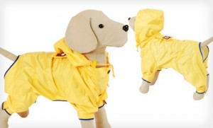 dog raincoat in yellow with hood and fleece lining