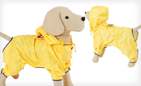 dog raincoat in yellow with hood and fleece lining