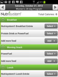 Nutrisystem food log screenshot