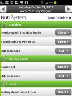 Nutrisystem food log screenshot