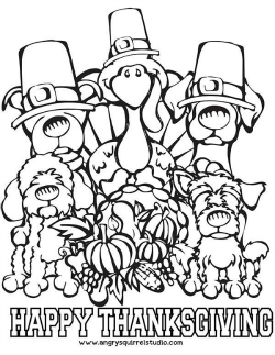 Free Printable Thanksgiving Coloring Page Dogs And Turkey Woof