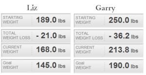 Liz and Garry Week 11 weight loss