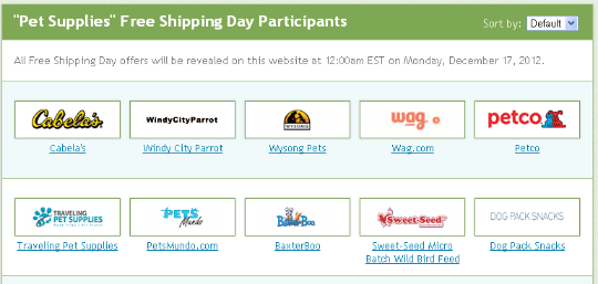free shipping day pets