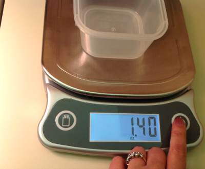 empty container weight on eatsmart kitchen scale
