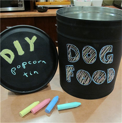 DIY chalkboard paint dog food tin