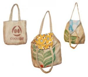 recycled burlap tote bags