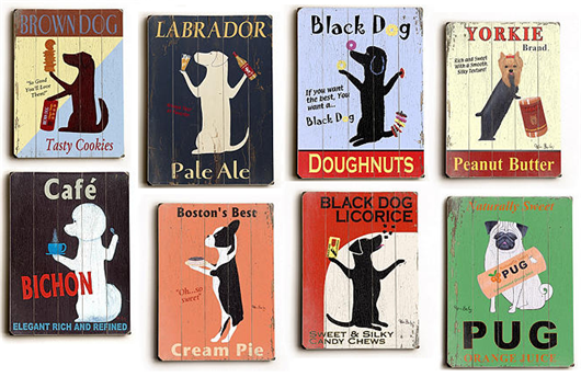vintage wooden dog signs