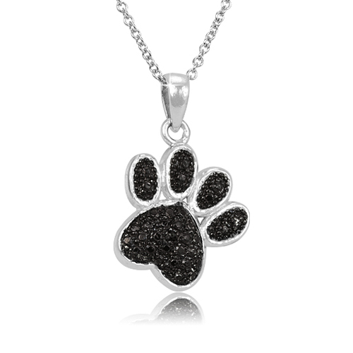 Black Diamond paw necklace