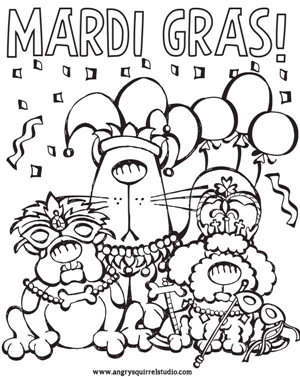 free mardi gras printable with cat and dogs