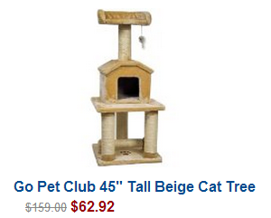 "Go Pet Club 45"" Tall Beige Cat Tree Furniture"