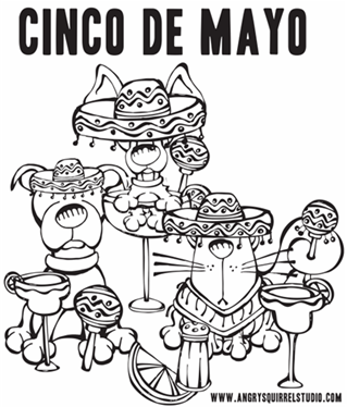 photo relating to Cinco De Mayo Coloring Pages Printable named Cinco de Mayo Bash Pets: Cost-free Printable Coloring Site