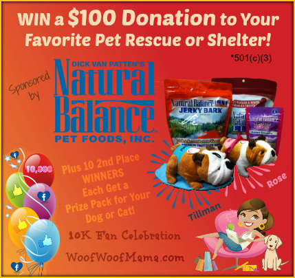 Win a Natural Balance Prize Pack + $100 Donation to Your Favorite Pet Rescue Group