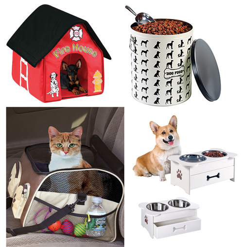 pet food canister, dog house, feeder