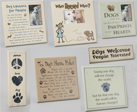 dog frames and wooden quote signs