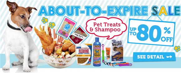 sale on dog treats and shampoo