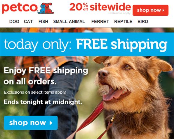 petco free shipping