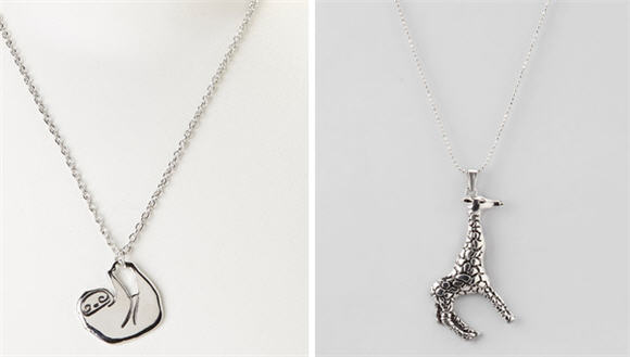 sloth and giraffe necklaces