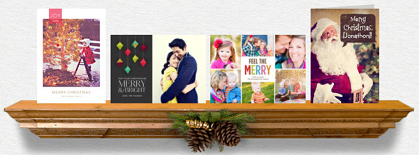 holiday cards on the mantel