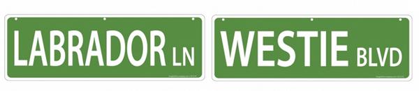 pet street signs