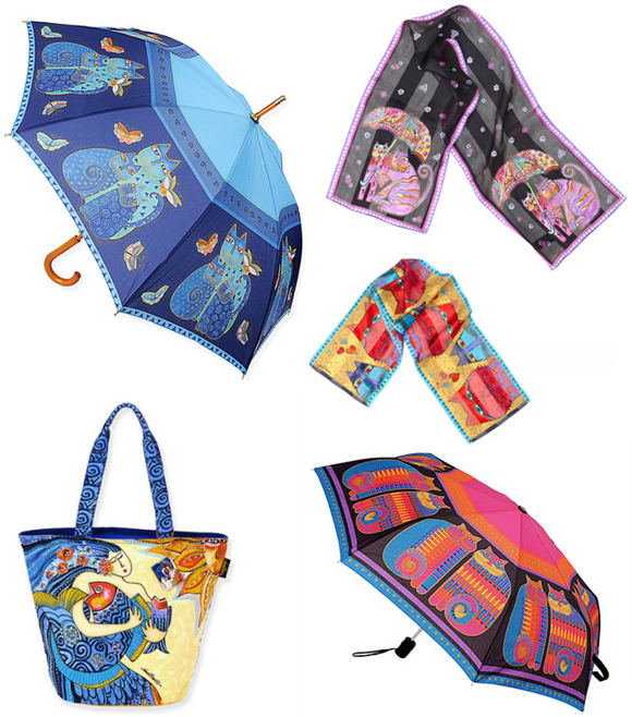 Laurel Burch cat umbrellas and accessories