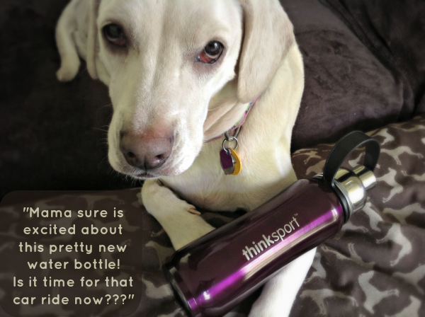 Daisy with my thinksport purple water bottle