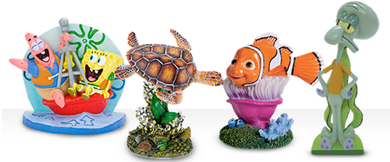 Nemo and Sponge Bob fish tank decor