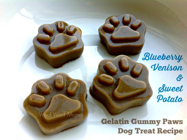 Blueberry venison sweet potato gelatin gummy paws dog treat recipe woof woof mama - New potatoes recipes treat ...