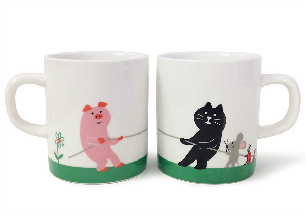 animal tug war mug set