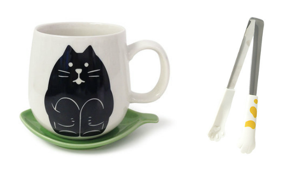 cat tongs and mug