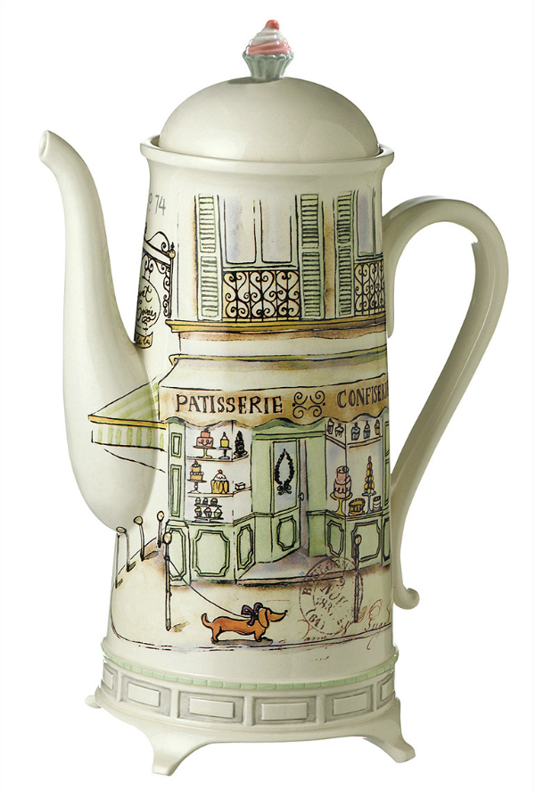 parisian dog coffee pot