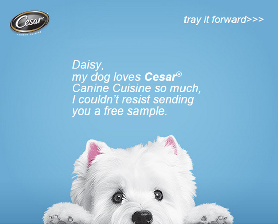 free cesar dog food