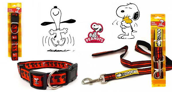 snoopy red dog collar leash