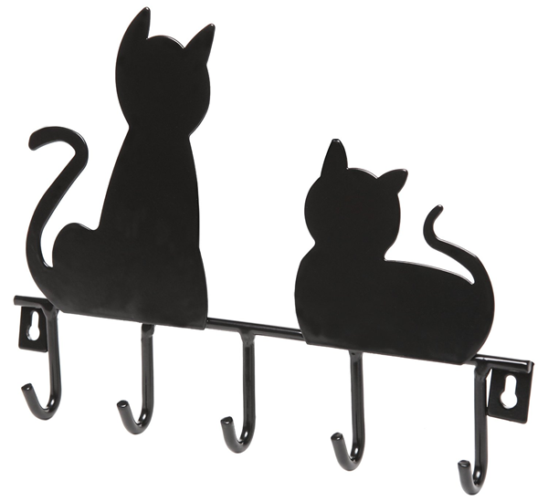 Black cat wall hooks