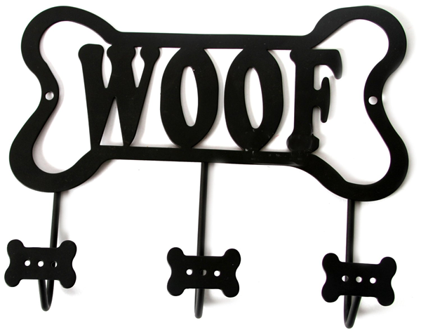 WOOF Black Dog Leash Holder