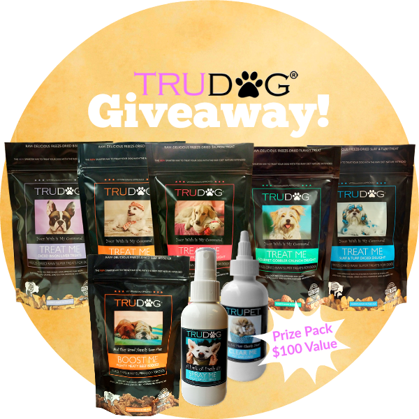 WIN a TruDog Prize Pack with treats, dental spray and more for your lucky dog!