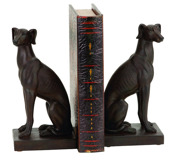elegant dog bookends