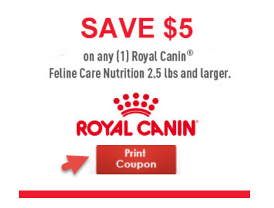 graphic regarding Royal Canin Printable Coupon identified as Royal Canin Coupon $5 OFF Feline Treatment Vitamins and minerals Cat Food stuff