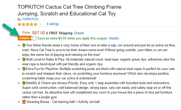 Amazon pet coupon for cat tree