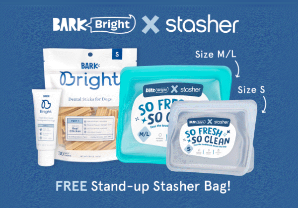 Free Stasher Bag with Bright Dental Kit for Dogs